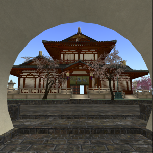Moon Gate frames the Tang Dynasty style mansion of the Chinese Scholar's Garden on Qoheleth in Second Life